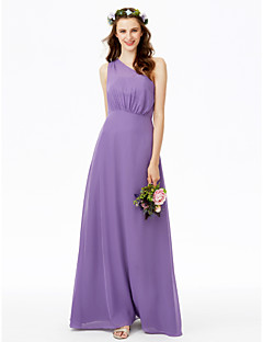 cheap Long Bridesmaid Dresses-Sheath / Column One Shoulder Floor Length Chiffon Bridesmaid Dress with Pleats by LAN TING BRIDE®