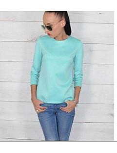 baratos Blusas Femininas-Mulheres Camisa Social Sólido Algodão Raiom