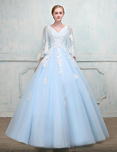 cheap Quinceanera Dresses-Ball Gown Princess V Neck Floor Length Lace Over Tulle Formal Evening Dress with Beading Lace by LAN TING Express