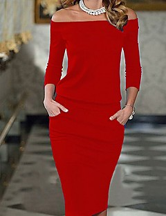 Women's Party Daily Going out Cute Casual Sexy Bodycon Sheath Dress,Solid Boat Neck Knee-length Long Sleeves Rayon Summer All Seasons Mid