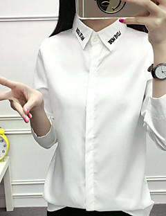 Women's Casual/Daily Simple Shirt,Solid Letter Shirt Collar Long Sleeve Others