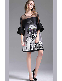 Women's Casual/Daily A Line Dress,Print Round Neck Above Knee Short Sleeves Polyester Summer High Rise Micro-elastic Thin