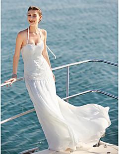 billiga Brudklänningar-Åtsmitande Halterneck Svepsläp Chiffong / Spets Bröllopsklänningar tillverkade med Spets / Knapp av LAN TING BRIDE®