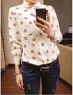 Damen Geometrisch Sexy Niedlich Ausgehen Lässig/Alltäglich Arbeit Hemd,Quadratischer Ausschnitt Langarm Polyester