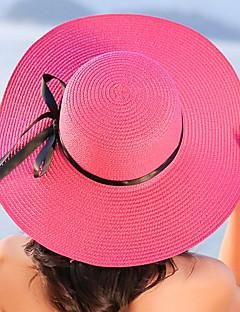 Dame Fritid Stråhatt,Sommer Solid Halm Ren Farge Stripe Sløyfe