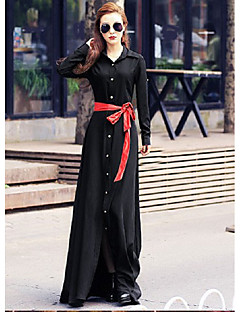 Women's Going out Casual/Daily Vintage Sophisticated Swing Dress,Solid Shirt Collar Maxi Long Sleeve Others Spring Fall Mid Rise Inelastic