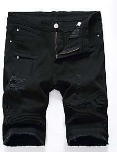cheap Men's Clothing-Men's Plus Size Cotton Slim Shorts Pants - Solid Colored Cut Out Ripped