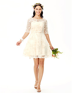 cheap Going Neutral-A-Line Jewel Neck Short / Mini All Over Lace Bridesmaid Dress with Bow(s) Sash / Ribbon Flower by LAN TING BRIDE®