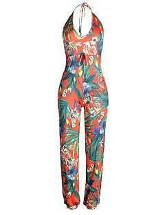 billige Jumpsuits og sparkebukser til damer-Dame Strand Kjeledresser - Blomsternål i krystall, Åpen rygg Delt Blomster Dyp V Høyt liv