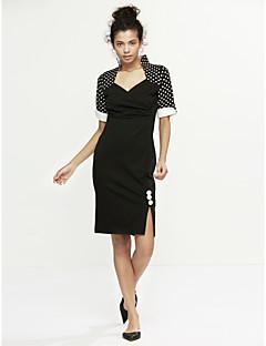Χαμηλού Κόστους Polka Dot Dresses-Γυναικεία Κλασσικό & Διαχρονικό Εφαρμοστό Φόρεμα - Πουά, Επίσημο Στυλ Κλασσικό στυλ Ως το Γόνατο