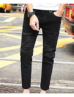 billige Herrebukser og -shorts-Herre Fritid Mikroelastisk Tynn Jeans Bukser, Mellomhøyt liv Ensfarget Sommer Alle årstider
