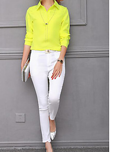 Women's Business Daily Simple Spring Shirt Pant Suits,Solid Shirt Collar Long Sleeve