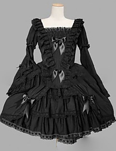 Gothic Lolita Dress Punk Princess Women's Girls' One Piece Dress Cosplay Cap Long Sleeves Short / Mini