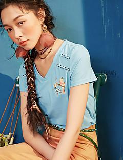 Χαμηλού Κόστους I BELIEVE YOU-Γυναικείο T-shirt Καθημερινά Απλός Βίντατζ Μονόχρωμο Στάμπα Κεντήματα,Κοντομάνικο Λαιμόκοψη V Βαμβάκι