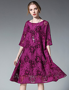 Women's Plus Size Casual/Daily Sexy Boho Loose Lace Dress,Solid Embroidered Round Neck Knee-length ½ Length Sleeve Modal Lace SummerHigh