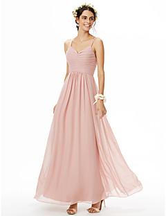 billige Romantisk rosa-A-linje Spagettistropper Gulvlang Chiffon Brudepikekjole med Plissert Bølgemønster av LAN TING BRIDE®