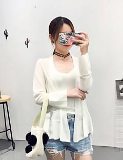 baratos Suéteres de Mulher-Mulheres Manga Longa Lã Carregam - Sólido Listrado, Fenda Lã