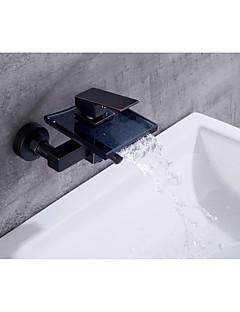 billige Foss-Badekarskran - Moderne Antikk Olje-gnidd Bronse Centersat Keramisk Ventil