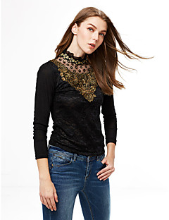 Women's Daily Plus Size Casual Winter Spring Fall Blouse,Solid Stand Long Sleeves Polyester Medium