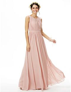 billige Romantisk rosa-A-linje Besmykket Gulvlang Chiffon Brudepikekjole med Belte / bånd Plissert Sidedrapering av LAN TING BRIDE®