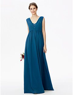 cheap Imperial Blue-A-Line Straps Floor Length Chiffon Lace Bridesmaid Dress with Lace Pleats Bandage by LAN TING BRIDE®