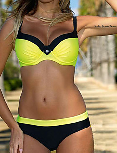 Women's Solid Solid Bikini Swimwear,Polyester Green Red Yellow
