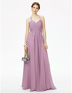 cheap Purple Passion-A-Line Halter Floor Length Chiffon Corded Lace Bridesmaid Dress with Appliques Criss-Cross Pleats Ruched by LAN TING BRIDE®