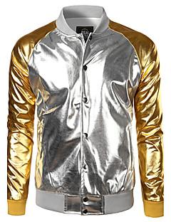 cheap Men's Jackets & Coats-Men's Jacket - Color Block Shirt Collar
