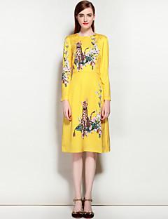 Χαμηλού Κόστους MARY YAN&YU-Γυναικεία Χαριτωμένο Κομψό στυλ street Γραμμή Α Φόρεμα - Φλοράλ Ζώο Μίντι Ως το Γόνατο