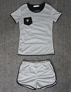 お買い得  レディースツーピースセット-女性用 Tシャツ パッチワーク パンツ