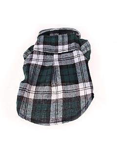 billiga Hundkläder-Hund T-shirt Hundkläder Pläd/Rutig Röd Grön Blå Cotton Kostym För husdjur Herr Dam Ledigt/vardag