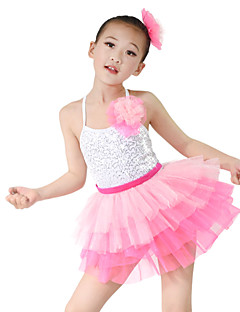 cheap Ballet Dance Wear-Kids' Dancewear Outfits Performance Organza Lycra Sequin Sleeveless High