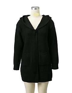 baratos Suéteres de Mulher-Mulheres Para Noite Moda de Rua Manga Longa Lã Longo Carregam - Sólido, Com Transparência Lã