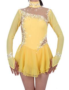 Eiskunstlaufkleid Damen Mädchen Eiskunstlaufkleider Narzisse Elasthan Chinlon Hochelastisch Mit Steinen verziert Strass Leistung warm