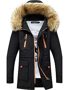 Χαμηλού Κόστους Αντρικά παλτά για άντρες-Ανδρικά Μεγάλα Μεγέθη Κομψό στυλ street Μακρύ Βαμβάκι Ενισχυμένο - Μονόχρωμο / Μακρυμάνικο