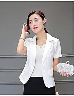Damen Solide Einfach Lässig/Alltäglich Blazer,Gekerbtes Revers Sommer Lange Ärmel Kurz Polyester