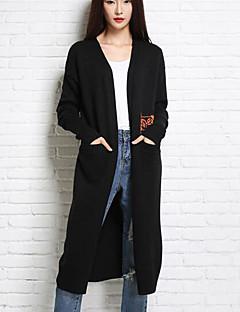 baratos Suéteres de Mulher-Mulheres Manga Longa Longo Cashmere - Sólido / Decote V / Outono / Inverno