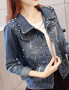 Women's Daily Modern/Contemporary Spring Denim Jacket,Solid Shirt Collar Long Sleeve Regular Others