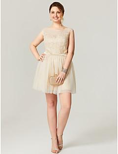 preiswerte Kleider für besondere Anlässe-a-line U-Ausschnitt kurz / Mini Tüll Plus Size Cocktailparty Heimkehrkleid mit Applikationen von ts couture®