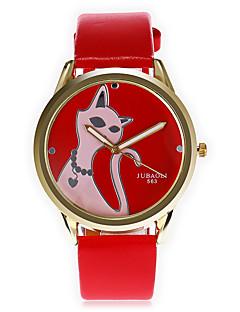 Χαμηλού Κόστους Brand Watches-JUBAOLI Ανδρικά Μοναδικό Creative ρολόι Μοδάτο Ρολόι Κινέζικα Χαλαζίας Μεγάλο καντράν Δέρμα Μπάντα Κινούμενα σχέδια Απίθανο Μαύρο Λευκή