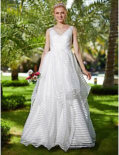 billiga Brudklänningar-A-linje V-hals Golvlång Organza Bröllopsklänningar tillverkade med Rosett(er) / Skärp / Band av LAN TING BRIDE® / Öppen Rygg