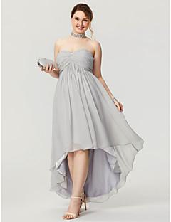 billiga Cocktailklänningar-A-linje Hjärtformad urringning Asymmetrisk Chiffong Kort och lång Bal Klänning med Bård / Veckad av TS Couture®