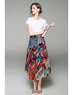お買い得  レディースツーピースセット-女性用 お出かけ 祝日 ボヘミアン コットン Tシャツ - プリント パッチワーク, ソリッド スカート