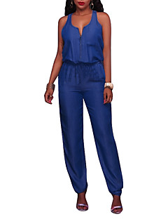 Women's Going out Casual/Daily Club Holiday Simple Sexy Street chic Solid Round Neck Jumpsuits,Slim Sleeveless Spring Summer Polyster