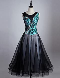 Nós vestiremos vestidos de dança de salão de mulher desempenho spandex organza cristais / strass