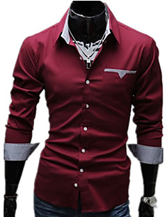 Men's Casual/Daily Work Plus Size Simple Spring Fall Shirt,Solid Classic Collar Long Sleeves Cotton Others