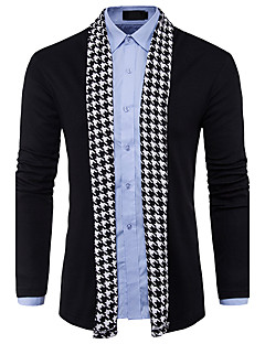 Men's Casual/Daily Simple Regular Cardigan,Color Block V Neck Long Sleeves Polyester Spring Fall Thin Micro-elastic