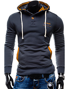 Men Evening Party Sports Contemporary Hoodie Solid Hooded strenchy Cotton Long Sleeve Winter Fall