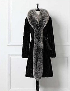 Women's Casual/Daily Simple Winter Fur Coat,Solid Shirt Collar Long Sleeve Long Others