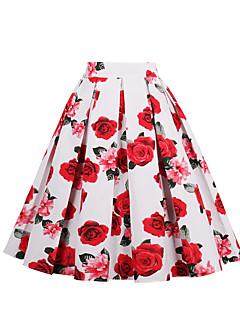 Χαμηλού Κόστους A Line Retro Skirts-Γυναικεία Γραμμή Α Βίντατζ Χαριτωμένο Φούστες - Φλοράλ